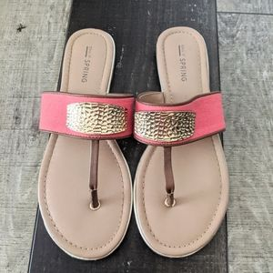 Call it Spring Coral and Gold Sandals Size 7